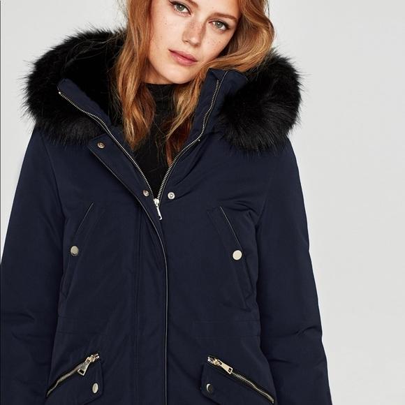ea6ceb8f Zara texture hood detachable fur parka coat jacket